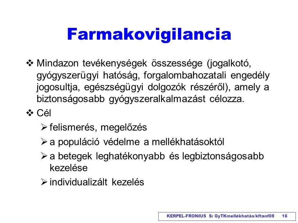 KERPEL-FRONIUS S: GyTKmellékhatás/kftanf09 16 Farmakovigilancia  Mindazon tevékenységek összessége (jogalkotó, gyógyszerügyi hatóság, forgalombahozat