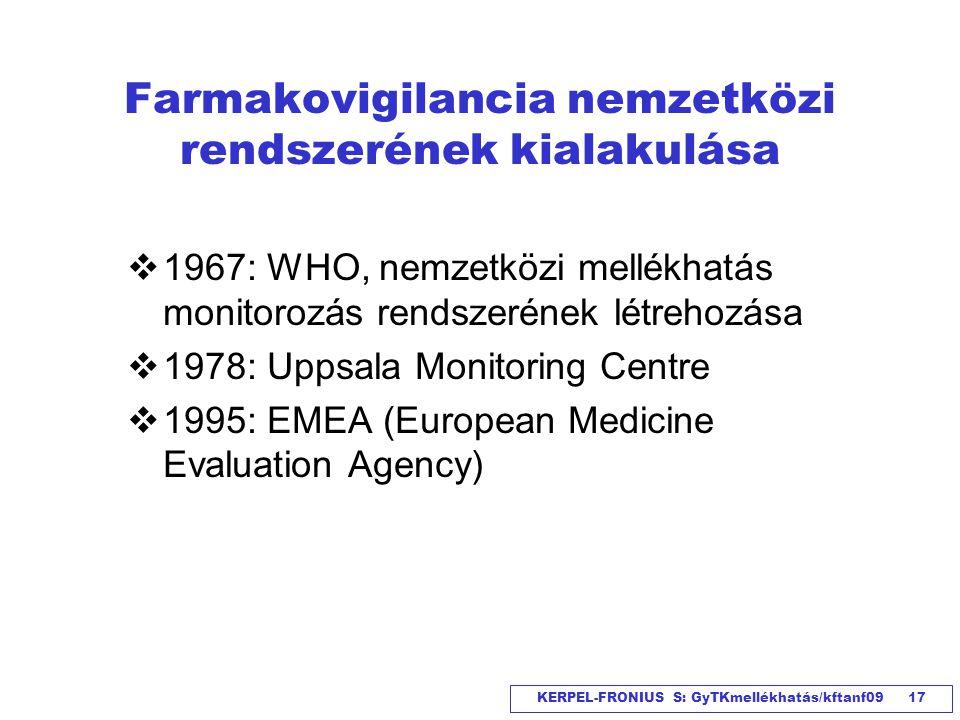 KERPEL-FRONIUS S: GyTKmellékhatás/kftanf09 17 Farmakovigilancia nemzetközi rendszerének kialakulása  1967: WHO, nemzetközi mellékhatás monitorozás re