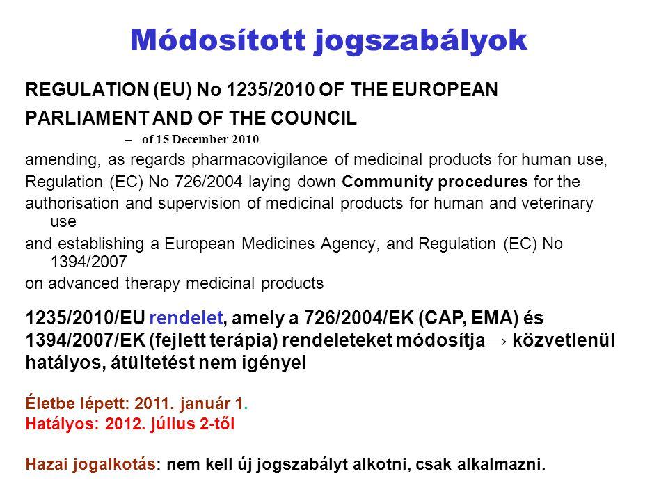 Módosított jogszabályok REGULATION (EU) No 1235/2010 OF THE EUROPEAN PARLIAMENT AND OF THE COUNCIL –of 15 December 2010 amending, as regards pharmacov