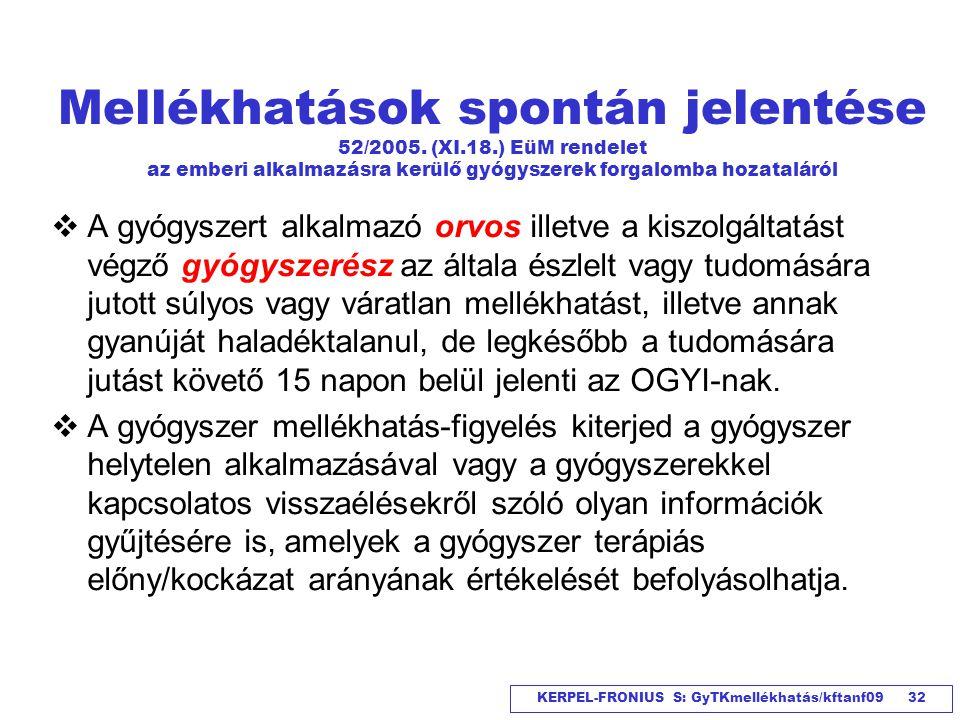 KERPEL-FRONIUS S: GyTKmellékhatás/kftanf09 32 Mellékhatások spontán jelentése 52/2005. (XI.18.) EüM rendelet az emberi alkalmazásra kerülő gyógyszerek