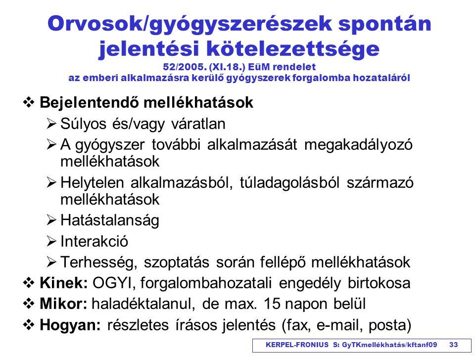 KERPEL-FRONIUS S: GyTKmellékhatás/kftanf09 33 Orvosok/gyógyszerészek spontán jelentési kötelezettsége 52/2005. (XI.18.) EüM rendelet az emberi alkalma