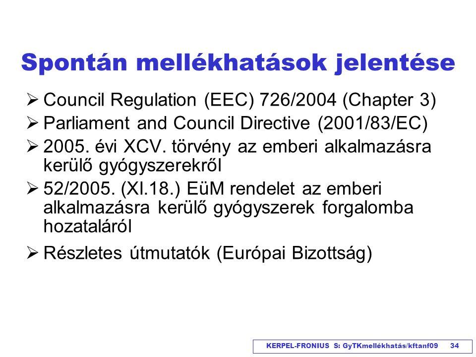 KERPEL-FRONIUS S: GyTKmellékhatás/kftanf09 34 Spontán mellékhatások jelentése  Council Regulation (EEC) 726/2004 (Chapter 3)  Parliament and Council