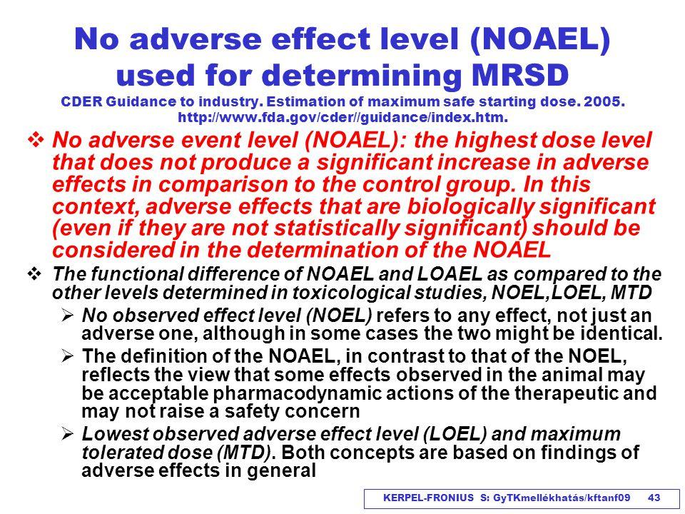 KERPEL-FRONIUS S: GyTKmellékhatás/kftanf09 43 No adverse effect level (NOAEL) used for determining MRSD CDER Guidance to industry. Estimation of maxim