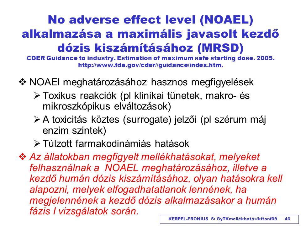 KERPEL-FRONIUS S: GyTKmellékhatás/kftanf09 46 No adverse effect level (NOAEL) alkalmazása a maximális javasolt kezdő dózis kiszámításához (MRSD) CDER