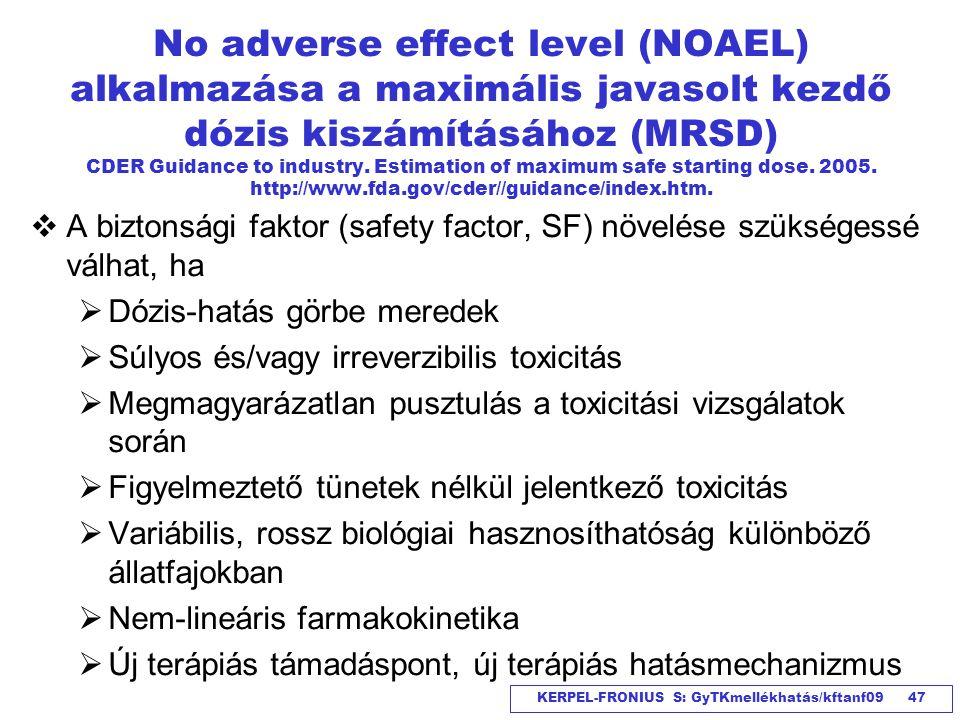 KERPEL-FRONIUS S: GyTKmellékhatás/kftanf09 47 No adverse effect level (NOAEL) alkalmazása a maximális javasolt kezdő dózis kiszámításához (MRSD) CDER