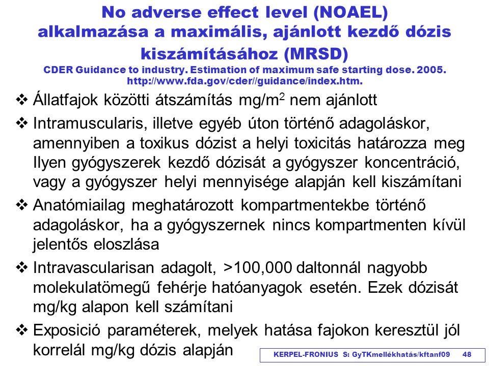 KERPEL-FRONIUS S: GyTKmellékhatás/kftanf09 48 No adverse effect level (NOAEL) alkalmazása a maximális, ajánlott kezdő dózis kiszámításához (MRSD) CDER