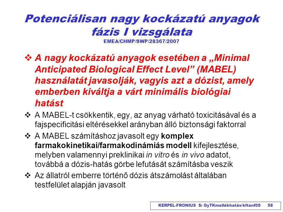 KERPEL-FRONIUS S: GyTKmellékhatás/kftanf09 58 Potenciálisan nagy kockázatú anyagok fázis I vizsgálata EMEA/CHMP/SWP/28367/2007  A nagy kockázatú anya