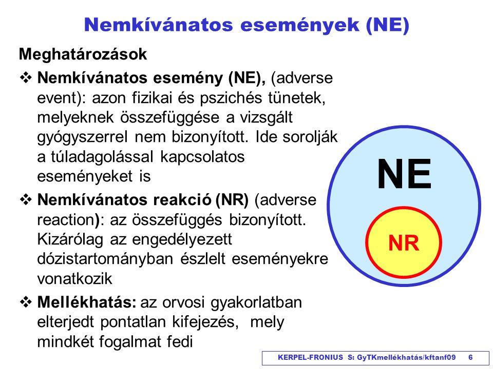 KERPEL-FRONIUS S: GyTKmellékhatás/kftanf09 6 Nemkívánatos események (NE) Meghatározások  Nemkívánatos esemény (NE), (adverse event): azon fizikai és