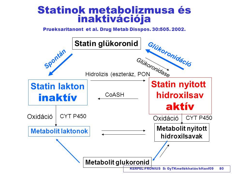 KERPEL-FRONIUS S: GyTKmellékhatás/kftanf09 80 Statinok metabolizmusa és inaktivációja Prueksaritanont et al. Drug Metab Disspos. 30:505. 2002. Statin
