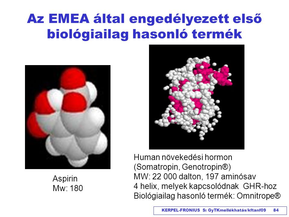 KERPEL-FRONIUS S: GyTKmellékhatás/kftanf09 84 Az EMEA által engedélyezett első biológiailag hasonló termék Human növekedési hormon (Somatropin, Genotr