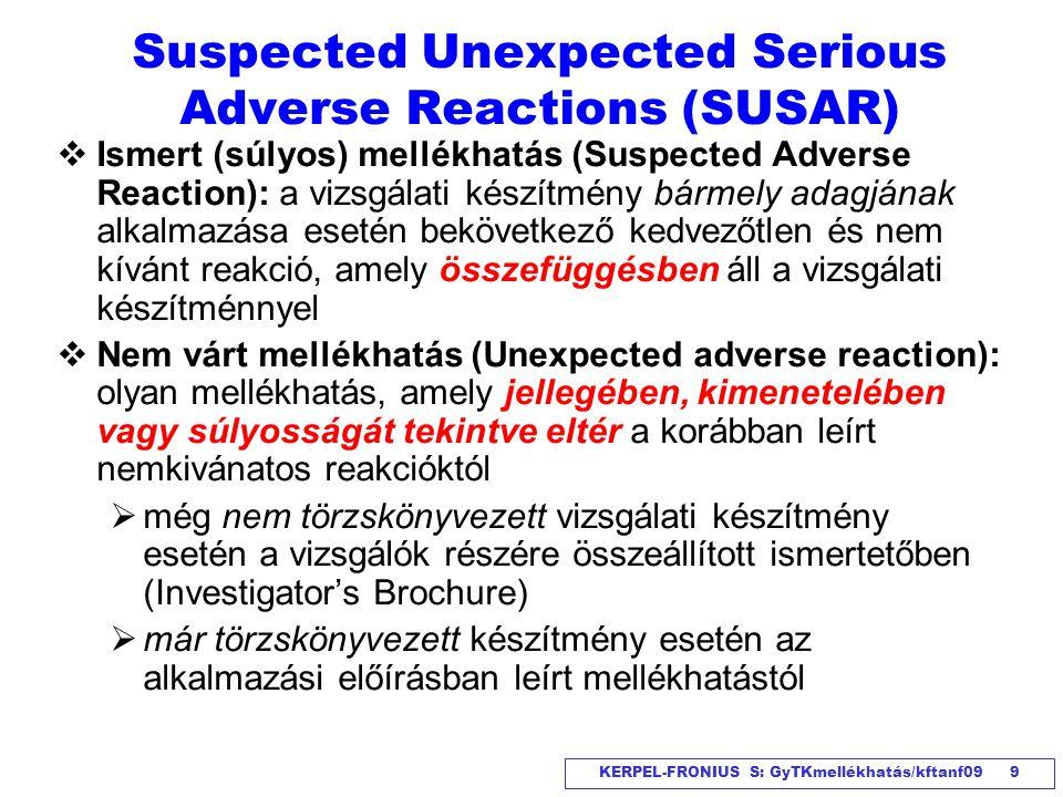 KERPEL-FRONIUS S: GyTKmellékhatás/kftanf09 9 Suspected Unexpected Serious Adverse Reactions (SUSAR)  Ismert (súlyos) mellékhatás (Suspected Adverse R