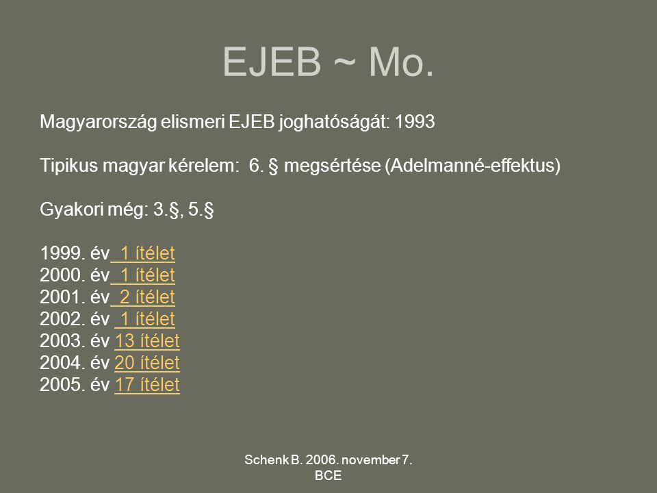 Schenk B. 2006. november 7. BCE EJEB ~ Mo. Magyarország elismeri EJEB joghatóságát: 1993 Tipikus magyar kérelem: 6. § megsértése (Adelmanné-effektus)