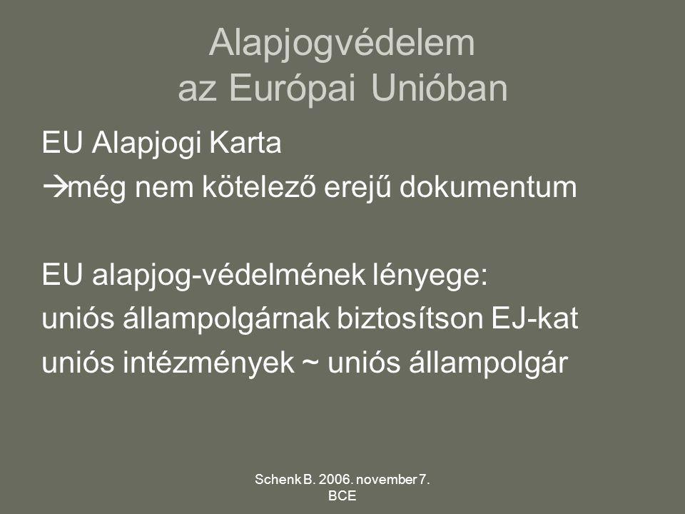 Schenk B. 2006. november 7. BCE Alapjogvédelem az Európai Unióban EU Alapjogi Karta  még nem kötelező erejű dokumentum EU alapjog-védelmének lényege: