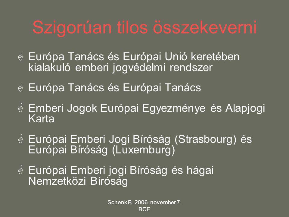 Schenk B. 2006. november 7. BCE Szigorúan tilos összekeverni  Európa Tanács és Európai Unió keretében kialakuló emberi jogvédelmi rendszer  Európa T