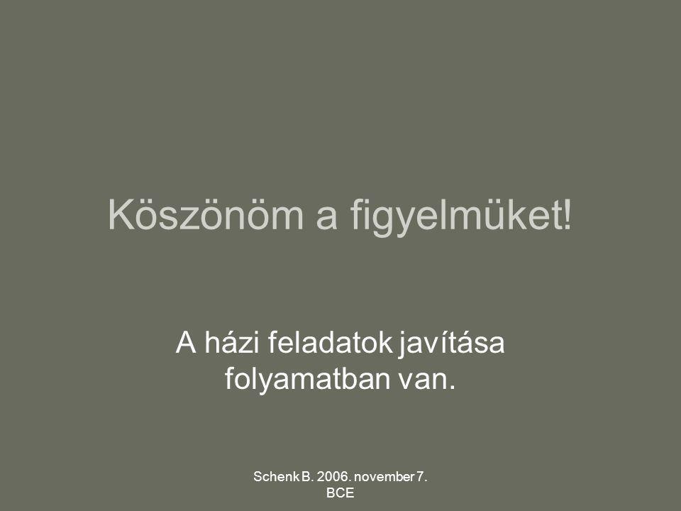 Schenk B. 2006. november 7. BCE Köszönöm a figyelmüket! A házi feladatok javítása folyamatban van.