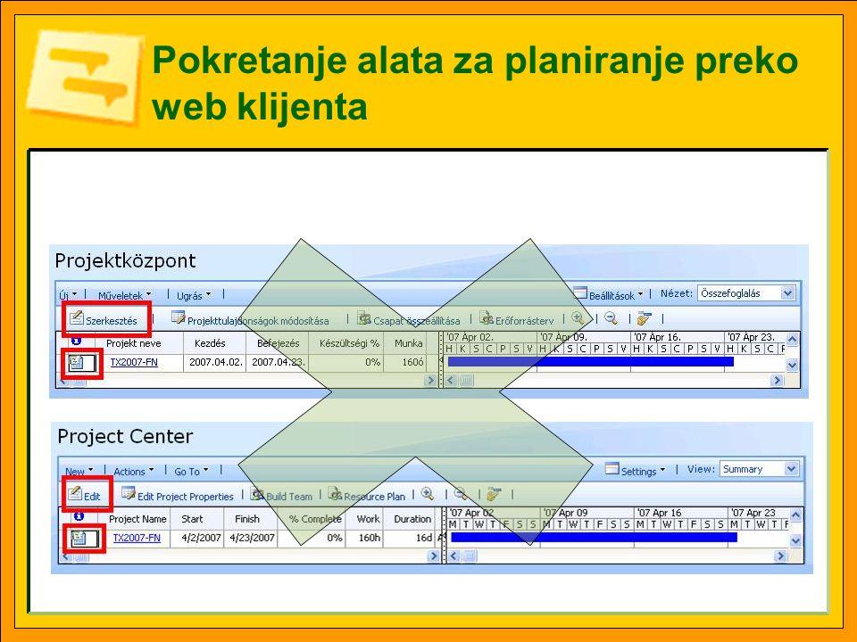 Pokretanje alata za planiranje preko web klijenta