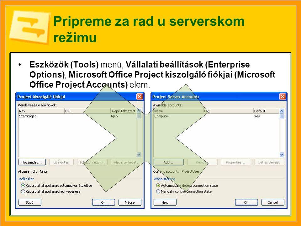 Pripreme za rad u serverskom režimu •Eszközök (Tools) menü, Vállalati beállítások (Enterprise Options), Microsoft Office Project kiszolgáló fiókjai (Microsoft Office Project Accounts) elem.