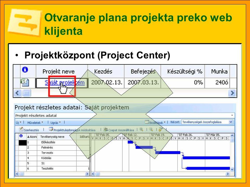 Otvaranje plana projekta preko web klijenta •Projektközpont (Project Center)