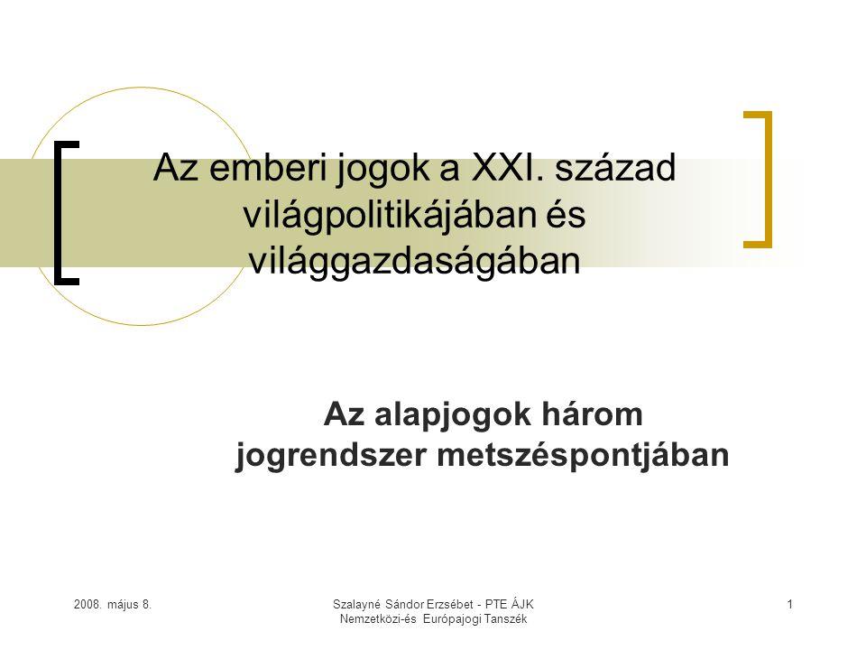 2008. május 8.Szalayné Sándor Erzsébet - PTE ÁJK Nemzetközi-és Európajogi Tanszék 1 Az emberi jogok a XXI. század világpolitikájában és világgazdaságá