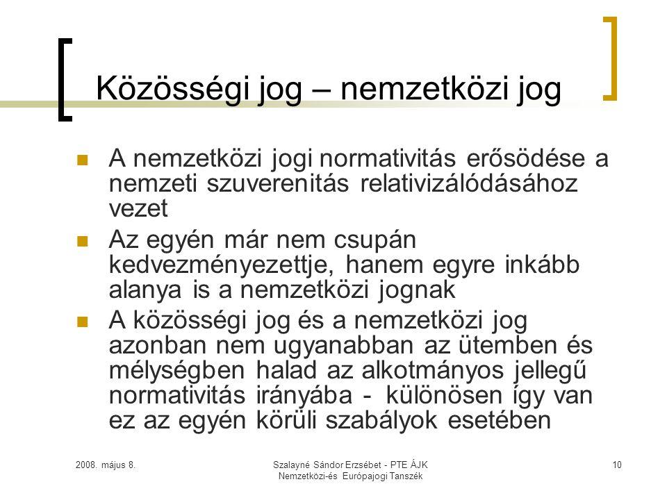 2008. május 8.Szalayné Sándor Erzsébet - PTE ÁJK Nemzetközi-és Európajogi Tanszék 10 Közösségi jog – nemzetközi jog  A nemzetközi jogi normativitás e