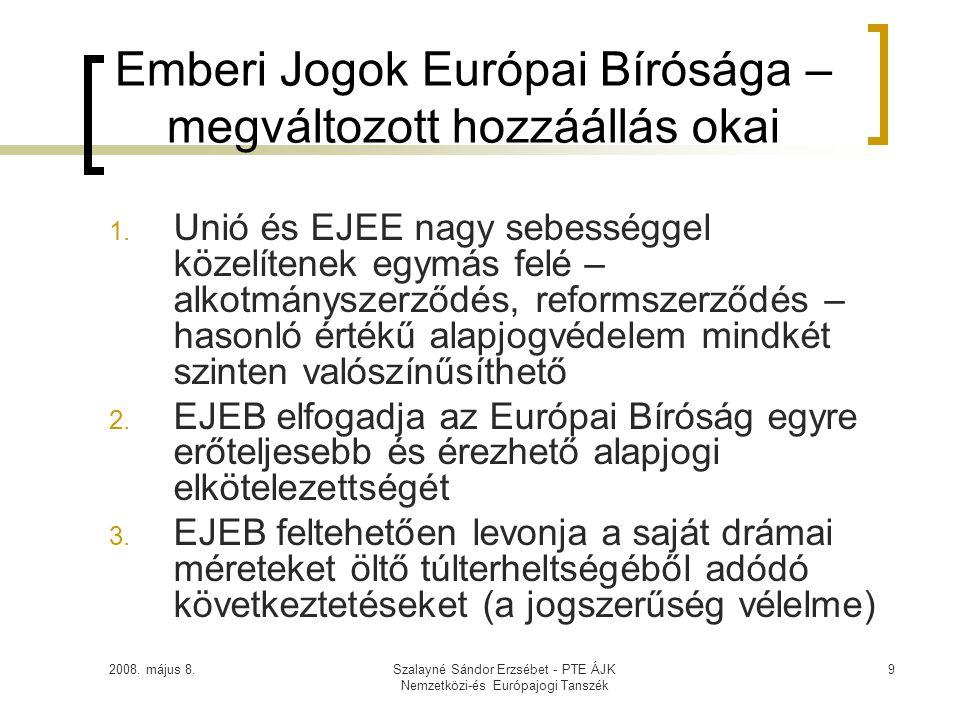 2008. május 8.Szalayné Sándor Erzsébet - PTE ÁJK Nemzetközi-és Európajogi Tanszék 9 Emberi Jogok Európai Bírósága – megváltozott hozzáállás okai 1. Un