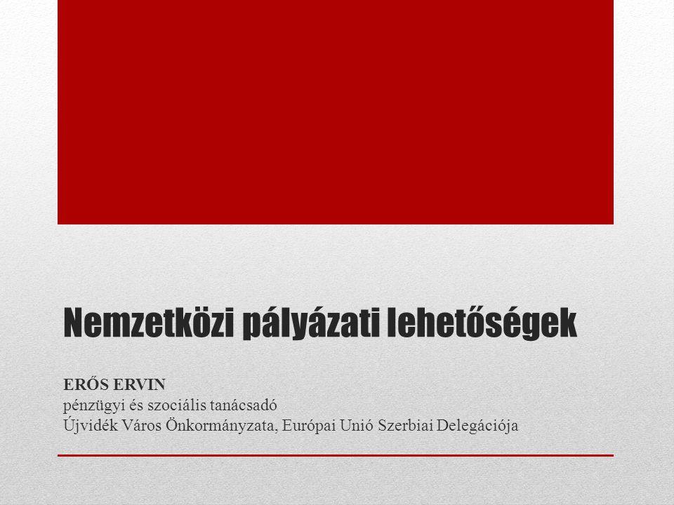 Nemzetközi pályázati lehetőségek ERŐS ERVIN pénzügyi és szociális tanácsadó Újvidék Város Önkormányzata, Európai Unió Szerbiai Delegációja
