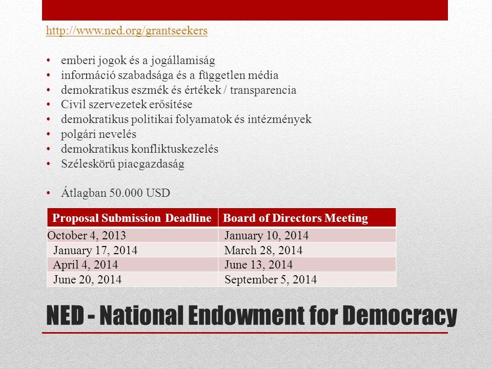 NED - National Endowment for Democracy http://www.ned.org/grantseekers • emberi jogok és a jogállamiság • információ szabadsága és a független média • demokratikus eszmék és értékek / transparencia • Civil szervezetek erősítése • demokratikus politikai folyamatok és intézmények • polgári nevelés • demokratikus konfliktuskezelés • Széleskörű piacgazdaság • Átlagban 50.000 USD Proposal Submission DeadlineBoard of Directors Meeting October 4, 2013 January 10, 2014 January 17, 2014 March 28, 2014 April 4, 2014 June 13, 2014 June 20, 2014 September 5, 2014