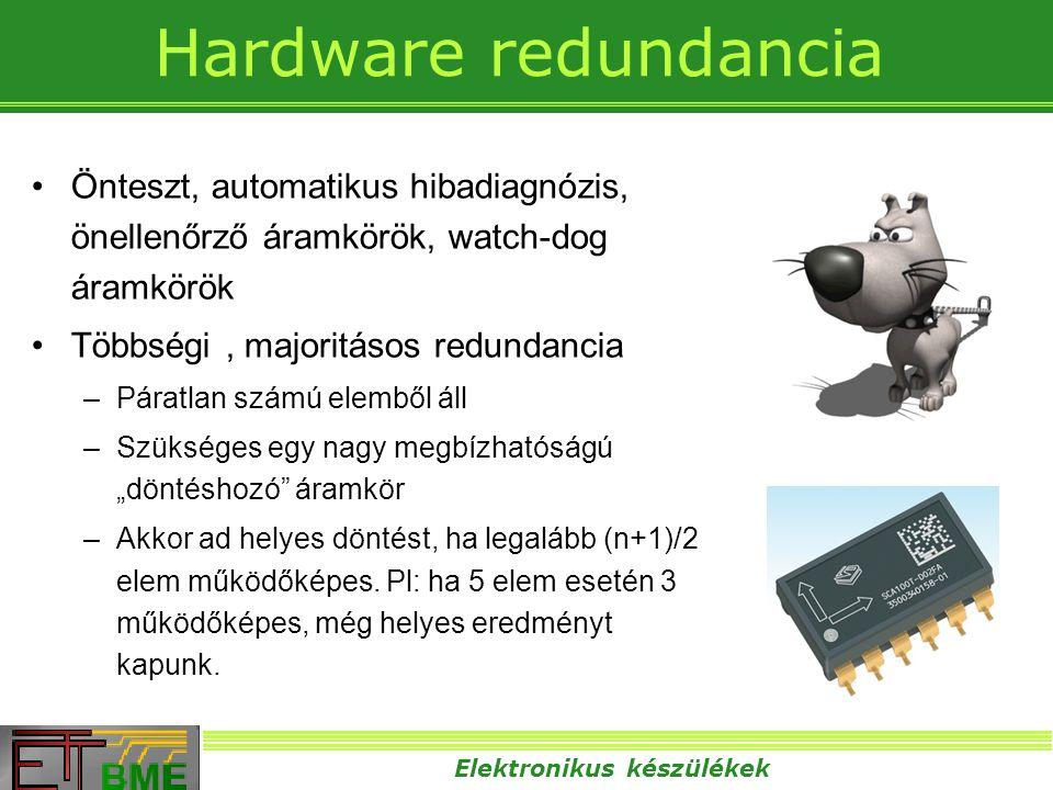 Elektronikus készülékek Hardware redundancia •Önteszt, automatikus hibadiagnózis, önellenőrző áramkörök, watch-dog áramkörök •Többségi, majoritásos re