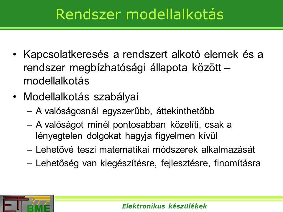 Elektronikus készülékek Kanonikus (Boole típusú) modellek •A rendszer és az elemek is két üzemállapottal rendelkeznek: –Működőképes –Üzemképtelen •Az elemek meghibásodási típusai: –Degradáció (fokozatos, folytonos romlás) –Időszakos (átmeneti jellegű) –Katasztrofális (hirtelen bekövetkező, végleges) •Struktúrák alaptípusai (nem villamos kapcsolatok): –Soros (redundancia mentes) –Redundáns •Melegtartalékolt (párhuzamos) •Hidegtartalékolt •Hardver tartalékolt –Vegyes •Javíthatóság szempontjából –Nem javítható –Javítható, felújítható