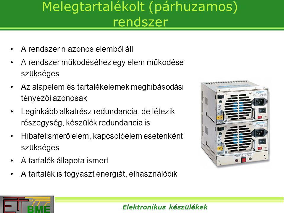 Elektronikus készülékek Melegtartalékolt (párhuzamos) rendszer •A rendszer n azonos elemből áll •A rendszer működéséhez egy elem működése szükséges •A
