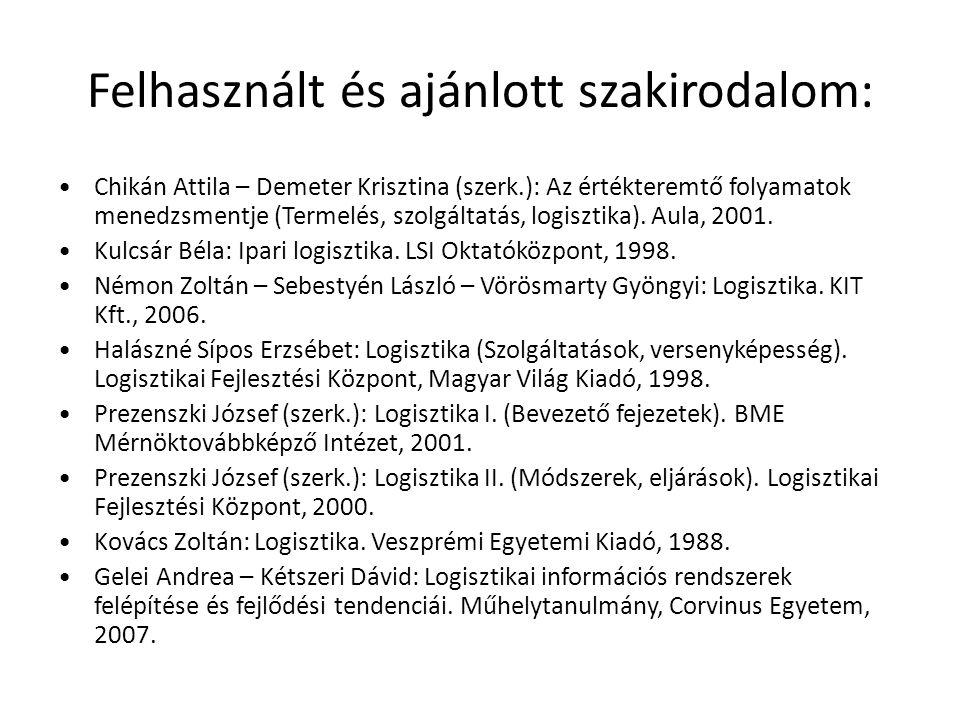 Felhasznált és ajánlott szakirodalom: •Chikán Attila – Demeter Krisztina (szerk.): Az értékteremtő folyamatok menedzsmentje (Termelés, szolgáltatás, l