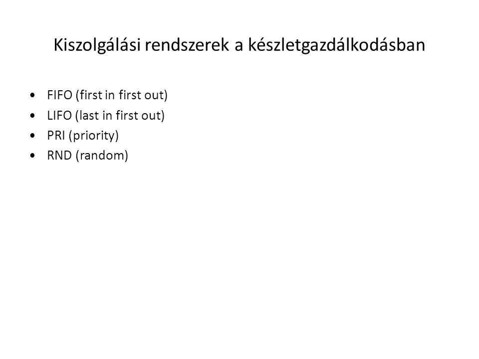 Kiszolgálási rendszerek a készletgazdálkodásban •FIFO (first in first out) •LIFO (last in first out) •PRI (priority) •RND (random)