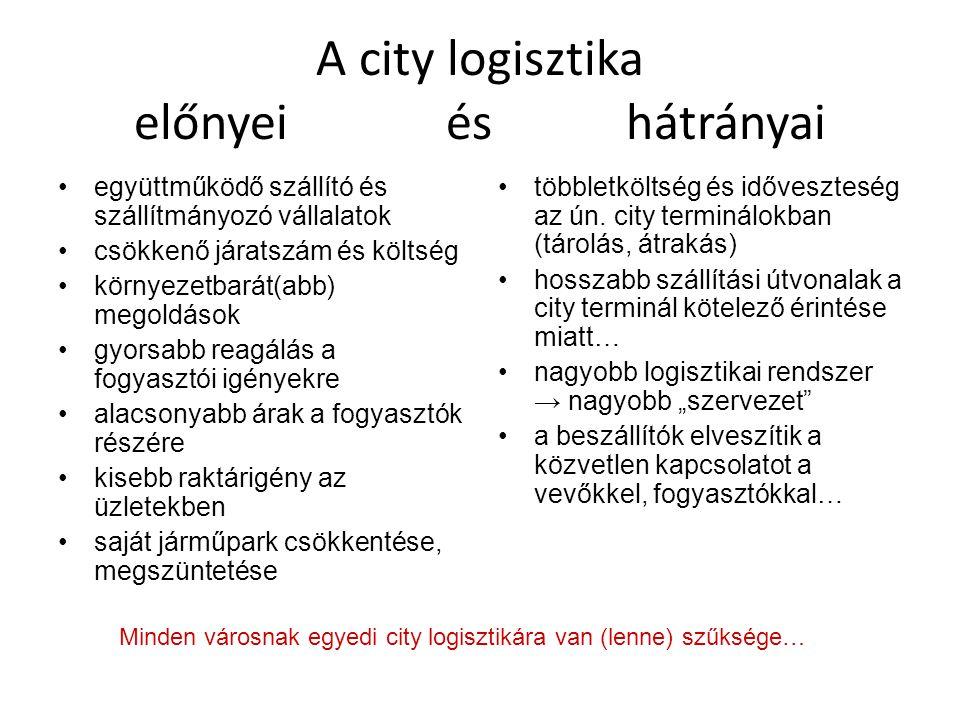 A city logisztika előnyei és hátrányai •együttműködő szállító és szállítmányozó vállalatok •csökkenő járatszám és költség •környezetbarát(abb) megoldá