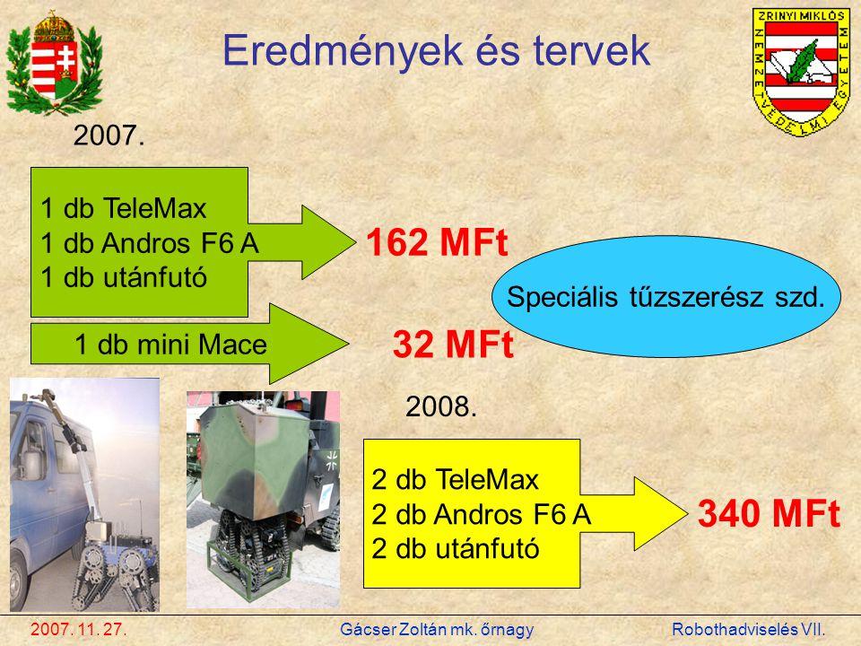 2007. 11. 27. Gácser Zoltán mk. őrnagy Robothadviselés VII. Eredmények és tervek 2007. 1 db TeleMax 1 db Andros F6 A 1 db utánfutó 162 MFt 1 db mini M