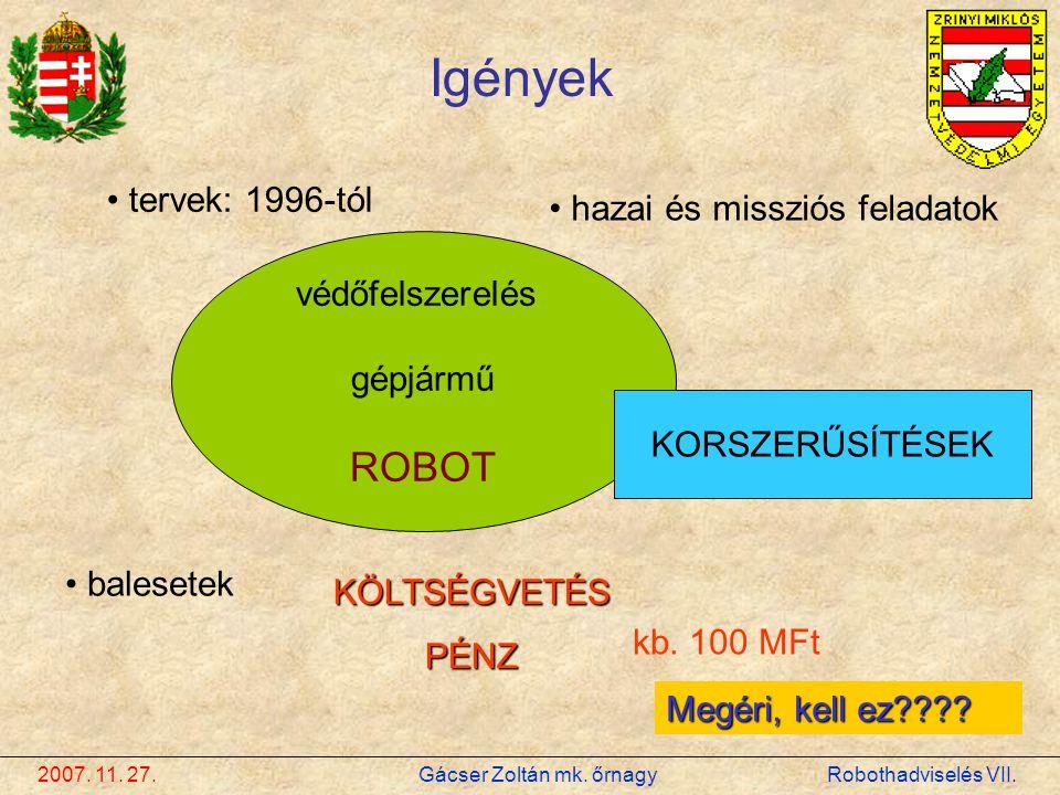 2007. 11. 27. Gácser Zoltán mk. őrnagy Robothadviselés VII. Igények • tervek: 1996-tól • hazai és missziós feladatok védőfelszerelés gépjármű ROBOT •
