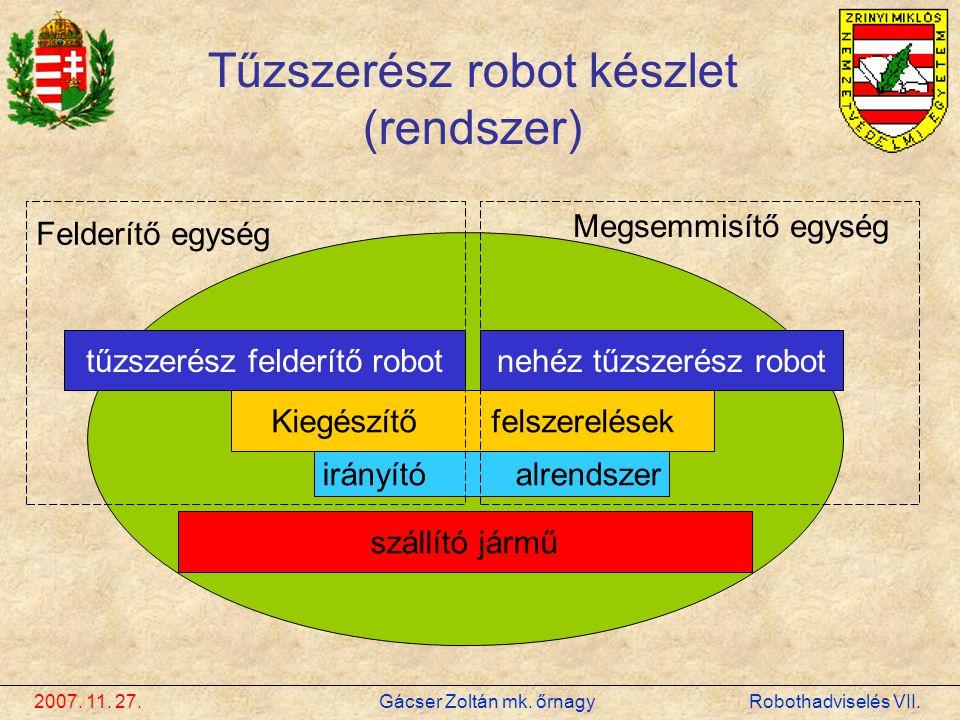 2007. 11. 27. Gácser Zoltán mk. őrnagy Robothadviselés VII. Tűzszerész robot készlet (rendszer) tűzszerész felderítő robotnehéz tűzszerész robot Kiegé