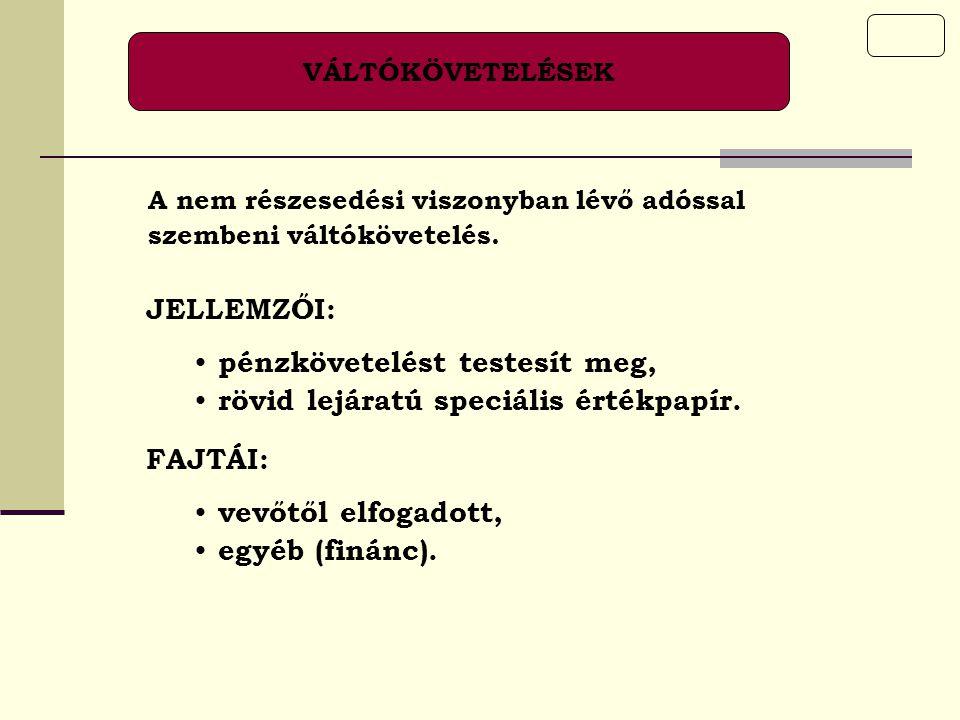 KÖVETELÉS KAPCSOLT VÁLLALKOZÁSSAL SZEMBEN Valamennyi, a mérleg B.