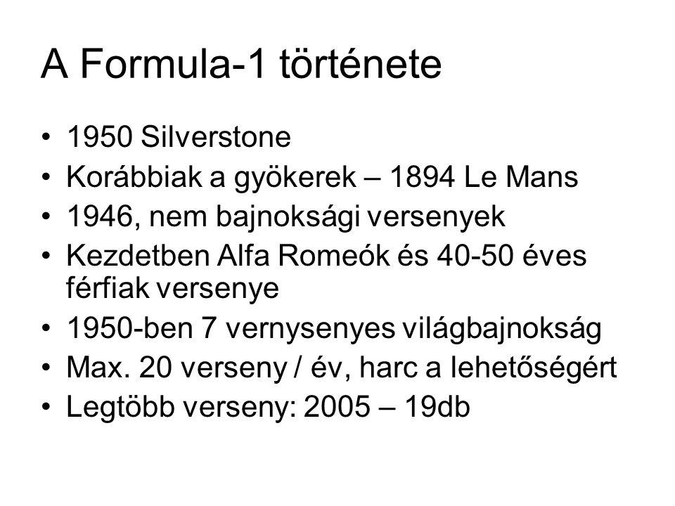 A Formula-1 története •1950 Silverstone •Korábbiak a gyökerek – 1894 Le Mans •1946, nem bajnoksági versenyek •Kezdetben Alfa Romeók és 40-50 éves férf