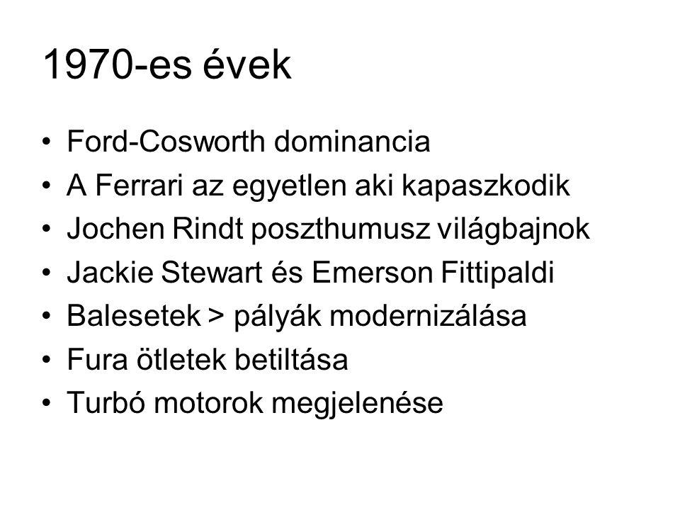 1980-as évek •1983 a szívó motor halála, 1000 lóerő •BMW csúcs, 1400 lóerő •Jim Clark-kupa •Renault: 12 000 fordulat / perc •Alain Prost 1985-86-88-89 •Nelson Piquet 1981-83-87 •Williams és McLaren dominancia