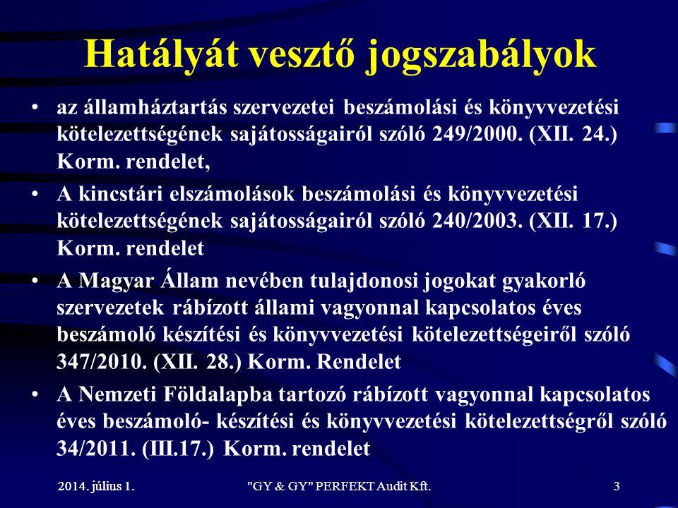 2014. július 1. Hatályát vesztő jogszabályok •az államháztartás szervezetei beszámolási és könyvvezetési kötelezettségének sajátosságairól szóló 249/2