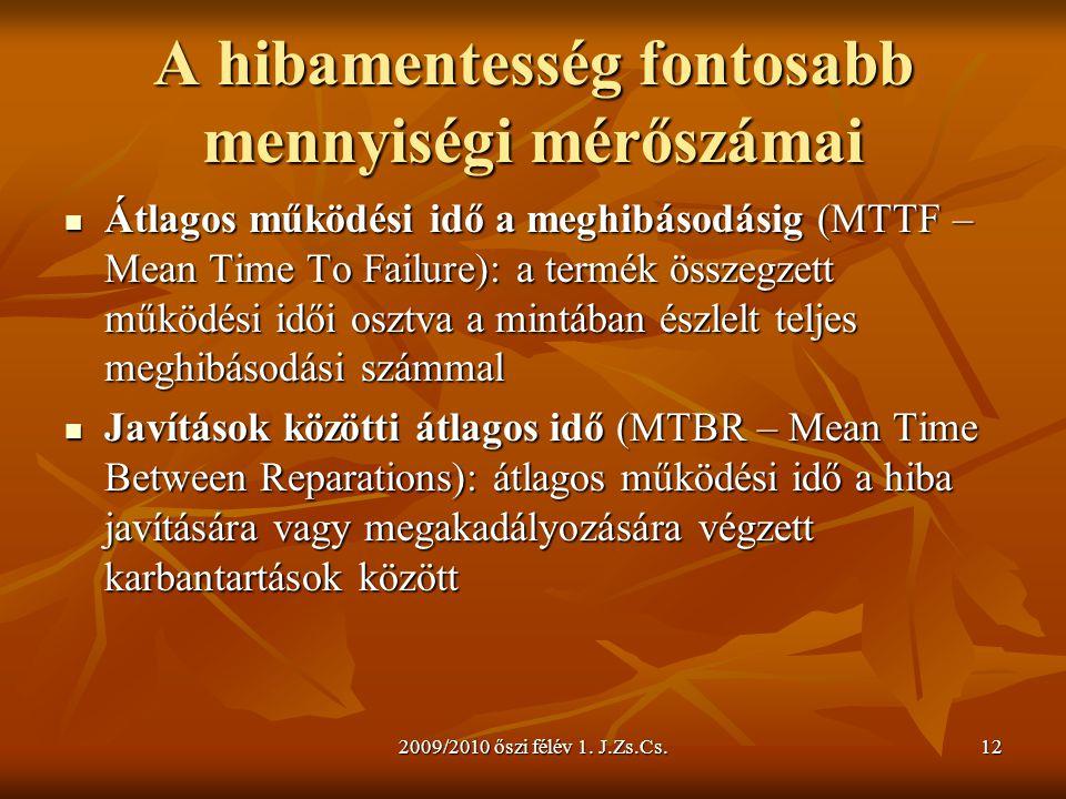 2009/2010 őszi félév 1. J.Zs.Cs.12 A hibamentesség fontosabb mennyiségi mérőszámai  Átlagos működési idő a meghibásodásig (MTTF – Mean Time To Failur