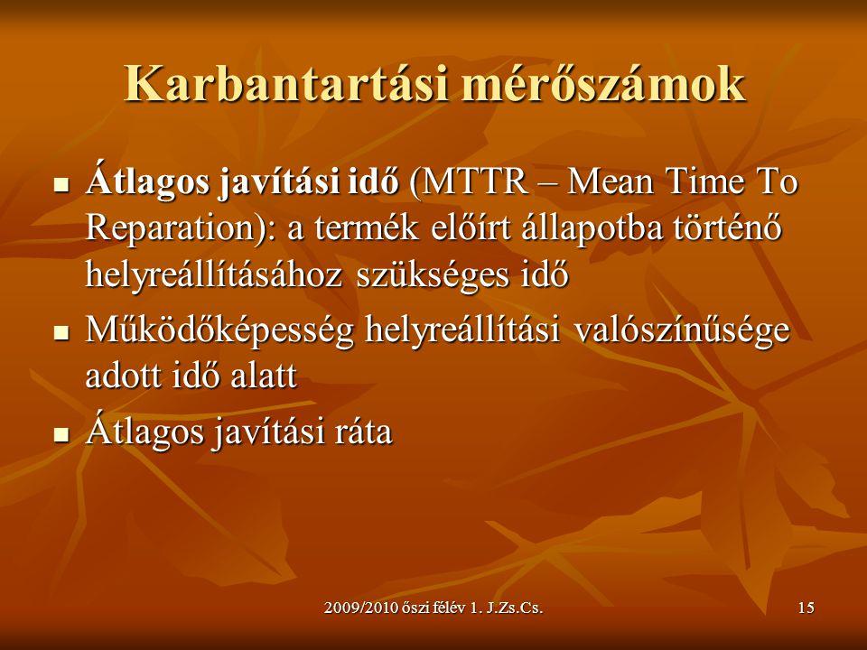 2009/2010 őszi félév 1. J.Zs.Cs.15 Karbantartási mérőszámok  Átlagos javítási idő (MTTR – Mean Time To Reparation): a termék előírt állapotba történő