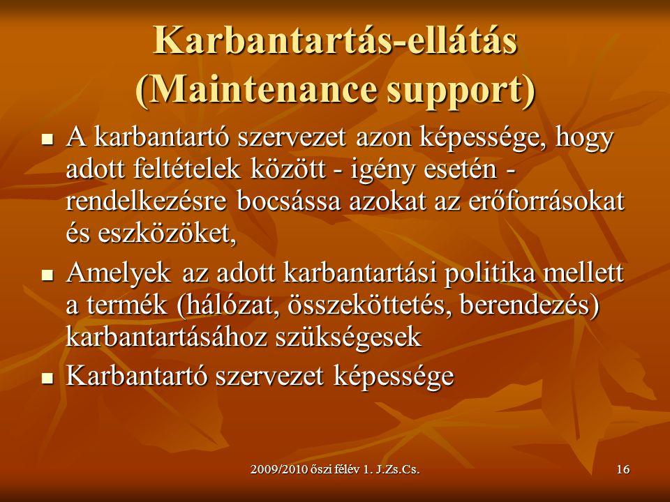2009/2010 őszi félév 1. J.Zs.Cs.16 Karbantartás-ellátás (Maintenance support)  A karbantartó szervezet azon képessége, hogy adott feltételek között -