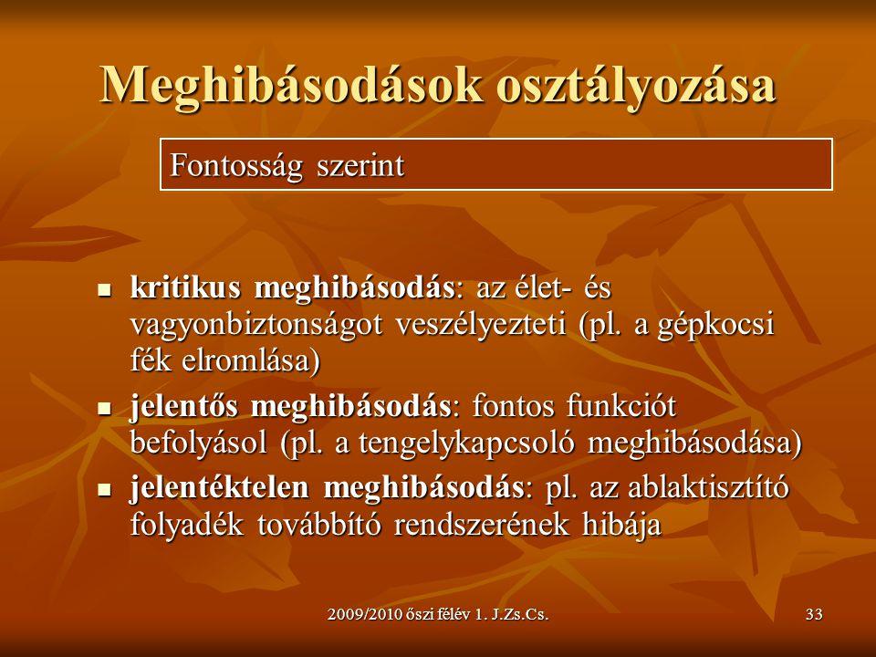 2009/2010 őszi félév 1. J.Zs.Cs.33 Meghibásodások osztályozása  kritikus meghibásodás: az élet- és vagyonbiztonságot veszélyezteti (pl. a gépkocsi fé