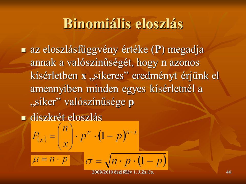 """2009/2010 őszi félév 1. J.Zs.Cs.40 Binomiális eloszlás  az eloszlásfüggvény értéke (P) megadja annak a valószínűségét, hogy n azonos kísérletben x """"s"""