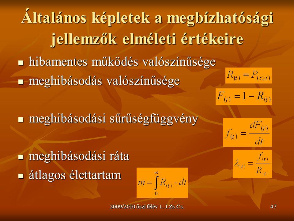 2009/2010 őszi félév 1. J.Zs.Cs.47 Általános képletek a megbízhatósági jellemzők elméleti értékeire  hibamentes működés valószínűsége  meghibásodás