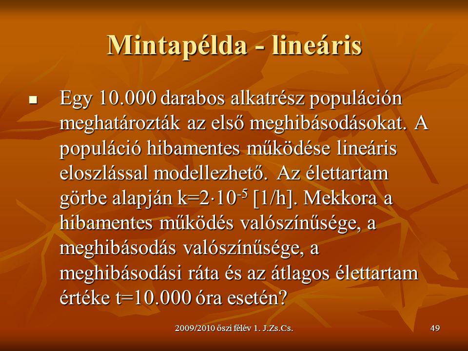 2009/2010 őszi félév 1. J.Zs.Cs.49 Mintapélda - lineáris  Egy 10.000 darabos alkatrész populáción meghatározták az első meghibásodásokat. A populáció
