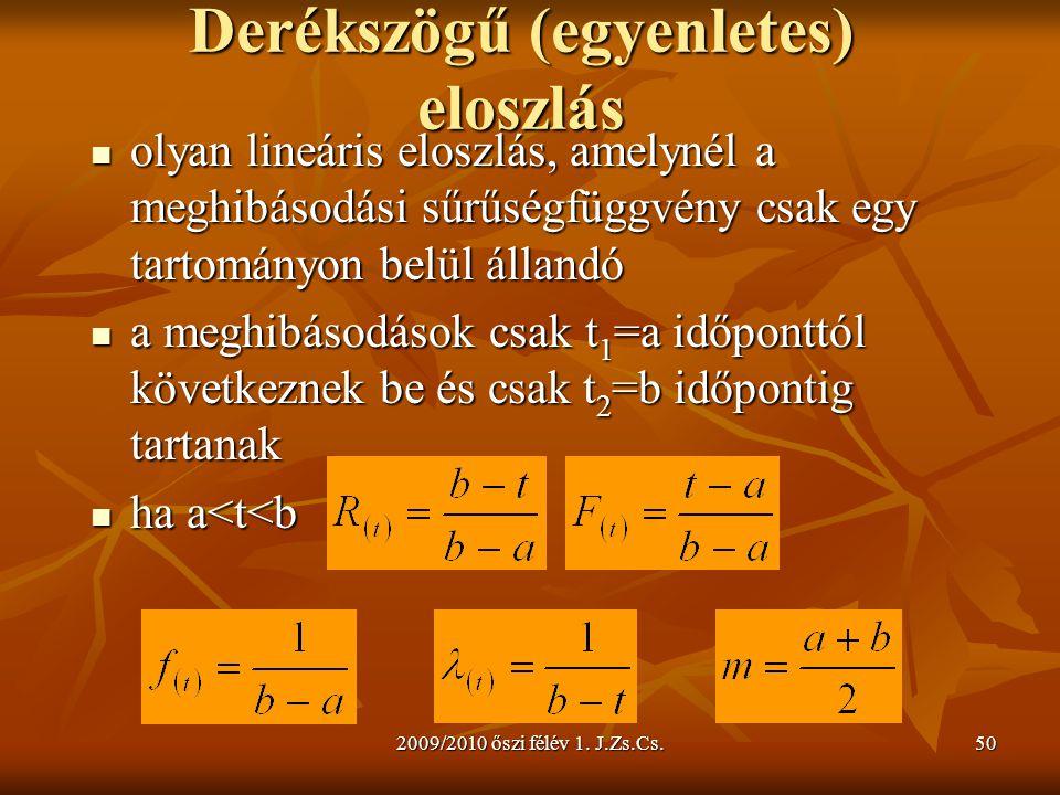 2009/2010 őszi félév 1. J.Zs.Cs.50 Derékszögű (egyenletes) eloszlás  olyan lineáris eloszlás, amelynél a meghibásodási sűrűségfüggvény csak egy tarto