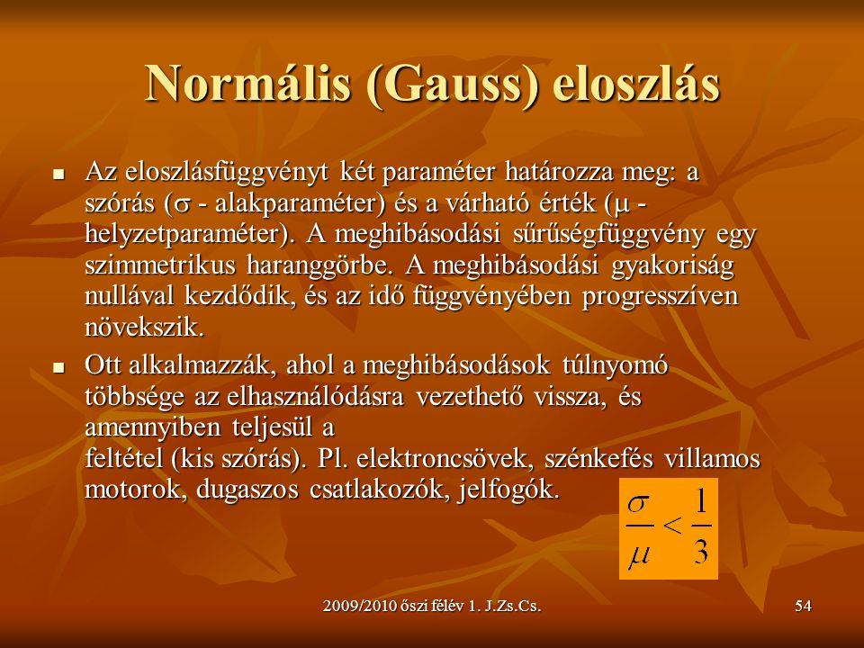2009/2010 őszi félév 1. J.Zs.Cs.54 Normális (Gauss) eloszlás  Az eloszlásfüggvényt két paraméter határozza meg: a szórás (  - alakparaméter) és a vá