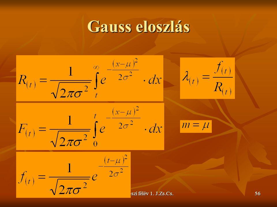 2009/2010 őszi félév 1. J.Zs.Cs.56 Gauss eloszlás